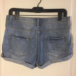 Distressed Button Up High Rise Denim Shorts